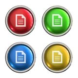 Document icon glass button. Document round shiny 4 color web icons with metal frame,3d rendered isolated on white background Royalty Free Stock Photos