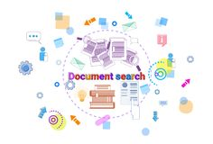 Document Search Banner Computer Files Data Research Internet Concept. Vector Illustration Stock Photos
