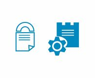 Document security icons. One is a concept of a padlock as a symbol of security and a folded paper which is a document. The other uses images of a castle and a Stock Photography