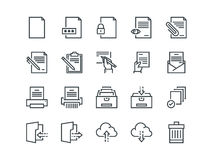 Document. Set of outline vector icons. Includes such as Printer, Shredder, Folder, Archive, Handwriting and more. Document. Set of outline vector icons Stock Image