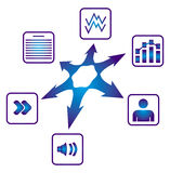 Document sharing. Poster with multimedia files icon Stock Photo