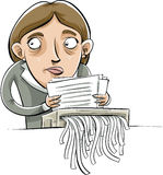 Document Shred. A cartoon businesswoman shreds paper documents with a guilty look on her face Stock Photos