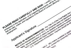Document signature. Empty applicant signature on a document Stock Images