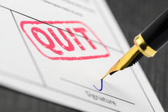 Document signed, fountain pen and stamp quit, close up shot. Stock Photo