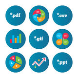Document signs. File extensions symbols. Business pie chart. Growth curve. Presentation buttons. Document icons. File extensions symbols. PDF, GIF, CSV and PPT Stock Photo