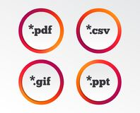 Document signs. File extensions symbols. Document icons. File extensions symbols. PDF, GIF, CSV and PPT presentation signs. Infographic design buttons. Circle Stock Photography