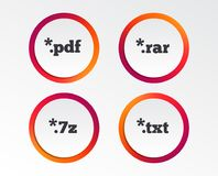 Document signs. File extensions symbols. Document icons. File extensions symbols. PDF, RAR, 7z and TXT signs. Infographic design buttons. Circle templates Royalty Free Stock Images