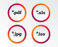 Document signs. File extensions symbols. Document icons. File extensions symbols. PDF, XLS, JPG and ISO virtual drive signs. Infographic design buttons. Circle Royalty Free Stock Photo