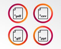 Document signs. File extensions symbols. Download document icons. File extensions symbols. PDF, GIF, CSV and PPT presentation signs. Infographic design buttons Stock Images