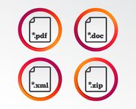 Document signs. File extensions symbols. Download document icons. File extensions symbols. PDF, ZIP zipped, XML and DOC signs. Infographic design buttons Royalty Free Stock Images