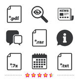 Document signs. File extensions symbols. Download document icons. File extensions symbols. PDF, RAR, 7z and TXT signs. Newspaper, information and calendar icons Royalty Free Stock Images