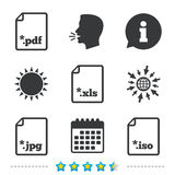 Document signs. File extensions symbols. Download document icons. File extensions symbols. PDF, XLS, JPG and ISO virtual drive signs. Information, go to web and Royalty Free Stock Photos