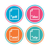 Document signs. File extensions symbols. Download document icons. File extensions symbols. PDF, ZIP zipped, XML and DOC signs. Colored circle buttons. Vector Royalty Free Stock Photography