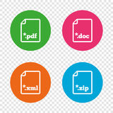 Document signs. File extensions symbols. Download document icons. File extensions symbols. PDF, ZIP zipped, XML and DOC signs. Round buttons on transparent Royalty Free Stock Photography