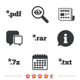 Document signs. File extensions symbols. Document icons. File extensions symbols. PDF, RAR, 7z and TXT signs. Newspaper, information and calendar icons Stock Photography