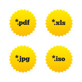 Document signs. File extensions symbols. Document icons. File extensions symbols. PDF, XLS, JPG and ISO virtual drive signs. Yellow stars labels with flat icons Stock Photo