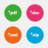 Document signs. File extensions symbols. Document icons. File extensions symbols. PDF, ZIP zipped, XML and DOC signs. Round buttons on transparent background Stock Photo