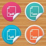 Document signs. File extensions symbols. Round stickers or website banners. Download document icons. File extensions symbols. PDF, GIF, CSV and PPT presentation Royalty Free Stock Photo