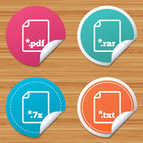 Document signs. File extensions symbols. Round stickers or website banners. Download document icons. File extensions symbols. PDF, RAR, 7z and TXT signs. Circle Royalty Free Stock Photos