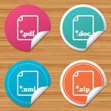 Document signs. File extensions symbols. Round stickers or website banners. Download document icons. File extensions symbols. PDF, ZIP zipped, XML and DOC signs Stock Photography