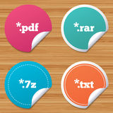 Document signs. File extensions symbols. Round stickers or website banners. Document icons. File extensions symbols. PDF, RAR, 7z and TXT signs. Circle badges Royalty Free Stock Photos