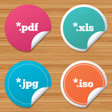 Document signs. File extensions symbols. Round stickers or website banners. Document icons. File extensions symbols. PDF, XLS, JPG and ISO virtual drive signs Stock Photo