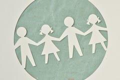Document silhouet van kinderen - Ecologie en sociale verantwoordelijkheid royalty-vrije stock afbeelding