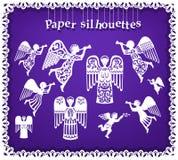 Document silhouetten van engelen Stock Afbeelding