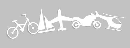 Document silhouetten van vervoer Stock Foto