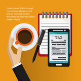 Document and smartphone icon. Tax and Financial item. Vector gra Stock Photography
