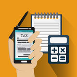 Document and smartphone icon. Tax and Financial item. Vector gra Royalty Free Stock Photography