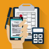 Document and smartphone icon. Tax and Financial item. Vector gra Stock Image