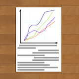 Document with statistics. Report economic with chart data, vector illustration Stock Image