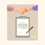 Document sur papier de Contract Sign Up d'homme d'affaires de poignée de main, secousse Pen Signature de mains d'homme d'affaires Photographie stock libre de droits