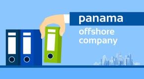 Document sur papier du Panama de dossier de prise de main d'homme d'affaires Illustration Libre de Droits