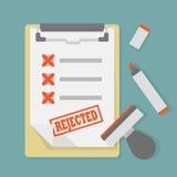 Document sur papier rejeté sur le presse-papiers avec le timbre et le marqueur illustration de vecteur