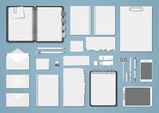 Document template blank set. A set of black and white business things to place a logo. Empty blank white papers, a tablet, a smartphone, a flash drive, scissors Stock Photo
