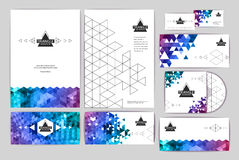 Document template with triangle geometric  background Stock Photos