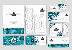 Document template with triangle geometric background Royalty Free Stock Image