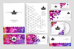Document template with triangle geometric  background Stock Photo