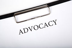 Document with the title of advocacy. Close up stock images