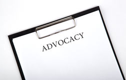 Document with the title of advocacy. Close up stock photos