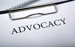 Document with the title of advocacy. Close up royalty free stock images