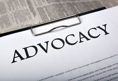 Document with the title of advocacy. Close up stock photo