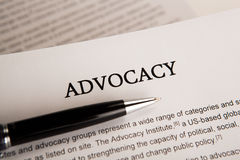 Document with the title of advocacy. Closeup Royalty Free Stock Image
