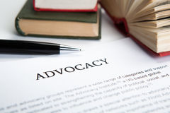 Document with the title of advocacy. Closeup Stock Photo