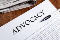 Document with the title of advocacy Royalty Free Stock Photos