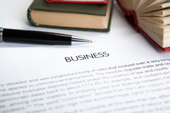 Document with the title of business Royalty Free Stock Image