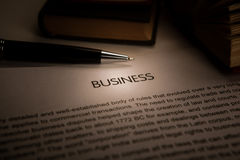 Document with the title of business Stock Photo