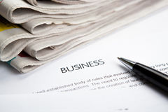 Document with the title of business Stock Photos